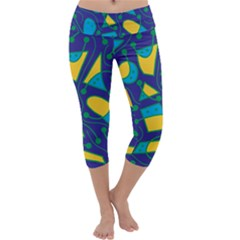 Playful abstract art - blue and yellow Capri Yoga Leggings