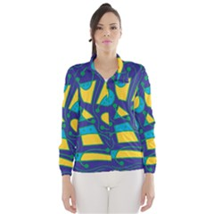Playful abstract art - blue and yellow Wind Breaker (Women)