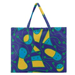Playful abstract art - blue and yellow Zipper Large Tote Bag