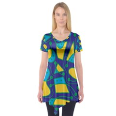 Playful abstract art - blue and yellow Short Sleeve Tunic