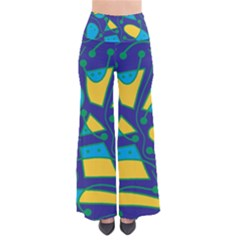 Playful abstract art - blue and yellow Pants