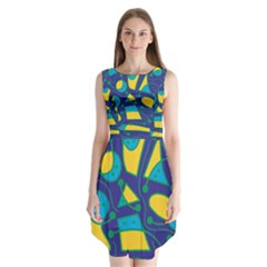 Playful Abstract Art   Blue And Yellow Sleeveless Chiffon Dress