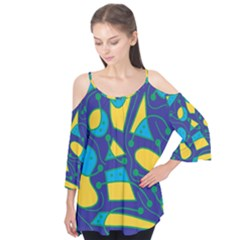 Playful abstract art - blue and yellow Flutter Tees