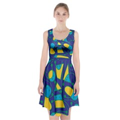 Playful abstract art - blue and yellow Racerback Midi Dress