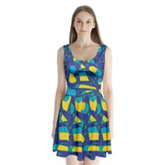 Playful abstract art - blue and yellow Split Back Mini Dress