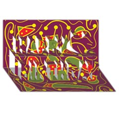 Playful decorative abstract art Happy Birthday 3D Greeting Card (8x4)