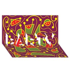 Playful decorative abstract art PARTY 3D Greeting Card (8x4)