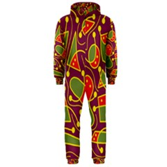 Playful decorative abstract art Hooded Jumpsuit (Men)