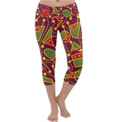 Playful decorative abstract art Capri Yoga Leggings