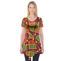 Playful decorative abstract art Short Sleeve Tunic