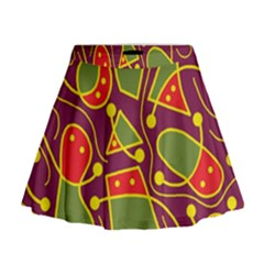 Playful decorative abstract art Mini Flare Skirt