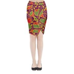 Playful Decorative Abstract Art Midi Wrap Pencil Skirt