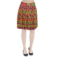 Playful decorative abstract art Pleated Skirt