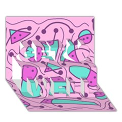 Playful abstract art - pink Get Well 3D Greeting Card (7x5)