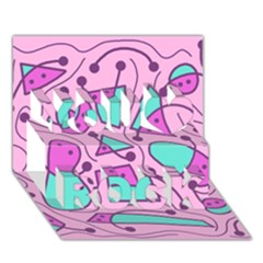 Playful abstract art - pink You Rock 3D Greeting Card (7x5)