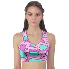 Playful abstract art - pink Sports Bra