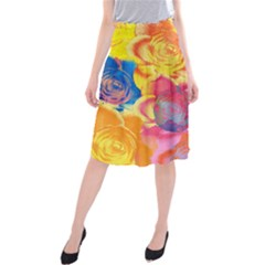 Pop Art Roses Midi Beach Skirt