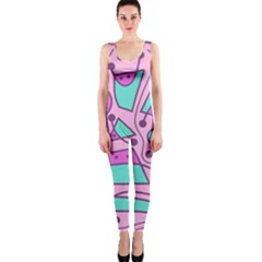Playful abstract art - pink OnePiece Catsuit