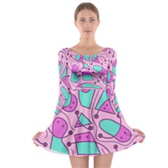 Playful abstract art - pink Long Sleeve Skater Dress