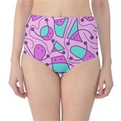 Playful abstract art - pink High-Waist Bikini Bottoms