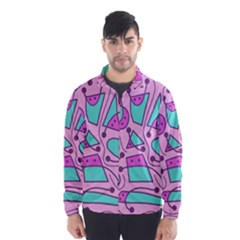 Playful abstract art - pink Wind Breaker (Men)