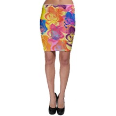 Pop Art Roses Bodycon Skirt