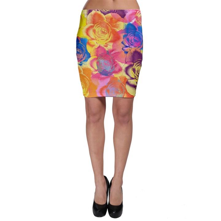 Pop Art Roses Bodycon Skirt