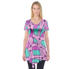 Playful abstract art - pink Short Sleeve Tunic