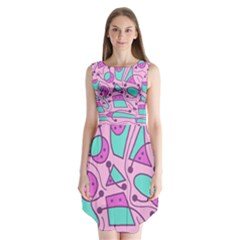Playful abstract art - pink Sleeveless Chiffon Dress