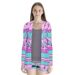 Playful abstract art - pink Drape Collar Cardigan