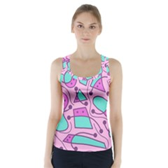 Playful abstract art - pink Racer Back Sports Top