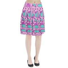 Playful abstract art - pink Pleated Skirt