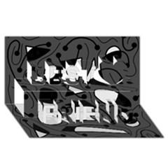 Playful abstract art - gray Best Friends 3D Greeting Card (8x4)