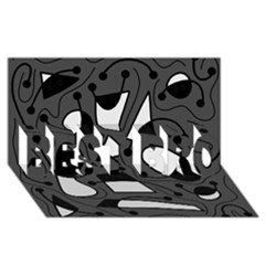 Playful Abstract Art   Gray Best Bro 3d Greeting Card (8x4)