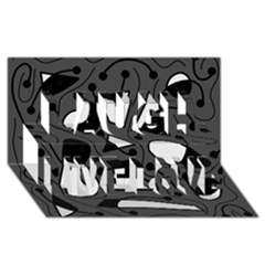 Playful abstract art - gray Laugh Live Love 3D Greeting Card (8x4)