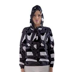 Playful abstract art - gray Hooded Wind Breaker (Women)