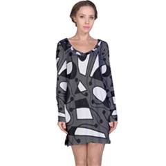 Playful abstract art - gray Long Sleeve Nightdress