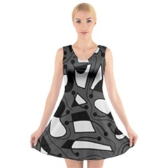 Playful abstract art - gray V-Neck Sleeveless Skater Dress
