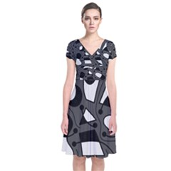 Playful abstract art - gray Short Sleeve Front Wrap Dress