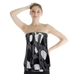 Playful abstract art - gray Strapless Top
