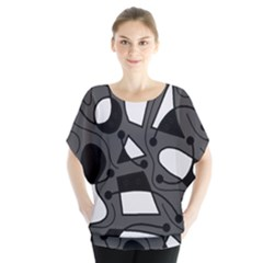 Playful abstract art - gray Blouse