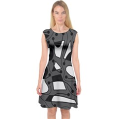 Playful abstract art - gray Capsleeve Midi Dress