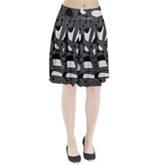 Playful abstract art - gray Pleated Skirt