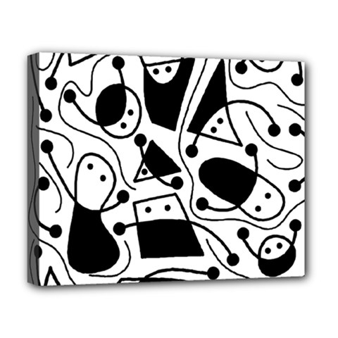 Playful abstract art - white and black Deluxe Canvas 20  x 16