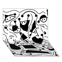 Playful abstract art - white and black I Love You 3D Greeting Card (7x5)