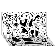 Playful abstract art - white and black MOM 3D Greeting Card (8x4)