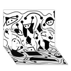 Playful abstract art - white and black BOY 3D Greeting Card (7x5)
