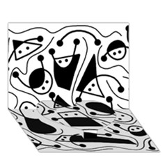 Playful Abstract Art   White And Black Heart Bottom 3d Greeting Card (7x5)