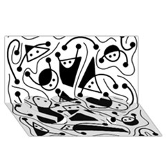 Playful abstract art - white and black Twin Heart Bottom 3D Greeting Card (8x4)