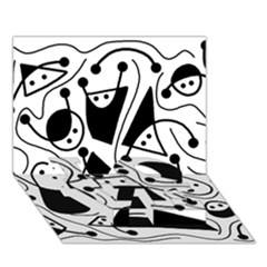 Playful abstract art - white and black LOVE Bottom 3D Greeting Card (7x5)